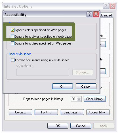 how to change the color scheme of internet explorer