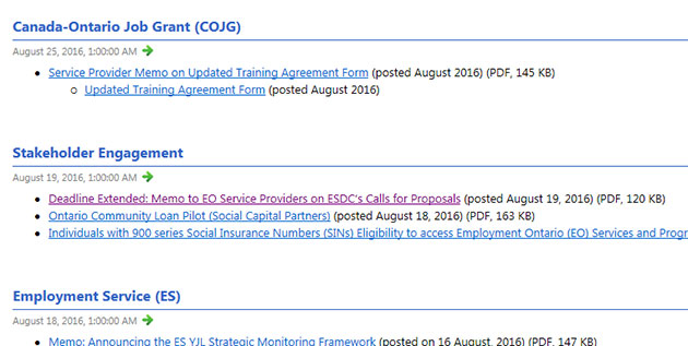 The EOPG RSS feed showing the latest postings in a subscribed RSS feed.