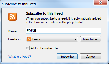 Prompt to subscribe to the feed. Input field for feed name and dropdown to select folder. Options to create a new folder. Buttons to Subscribe, or  Cancel.