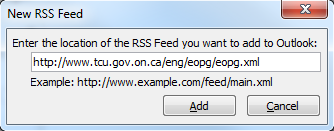 Microsoft Outlook prompt input field populated by the RSS feed address link.