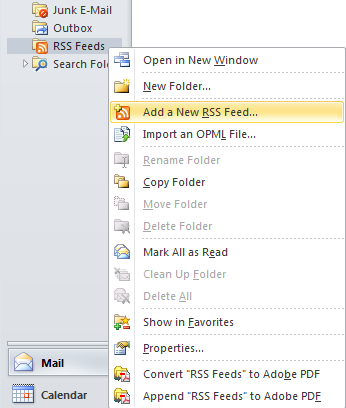 The flyout menu for the RSS feed showing the Add a New RSS Feed option selected.