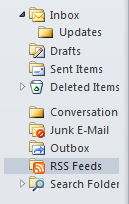Microsoft Outlook sidebar showing the RSS Feeds options amongst other tools.