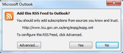 Microsoft Outlook warning prompt asking if you trust the source. Options are Yes, No, and Advanced...